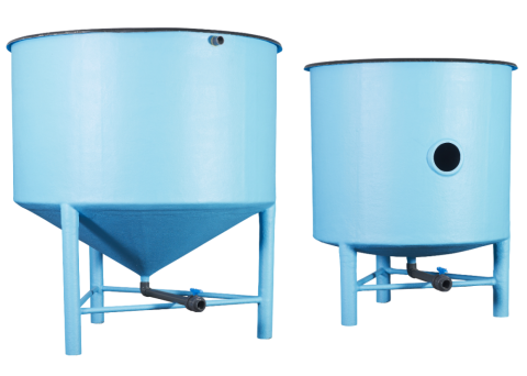 2 fish cylindrical tanks